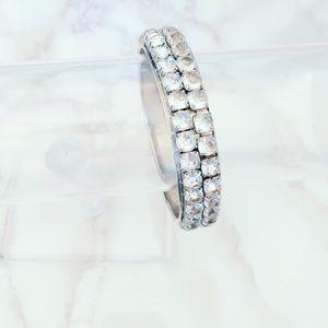 Silver Tone and Rhinestone Bling Bangle Bracelet